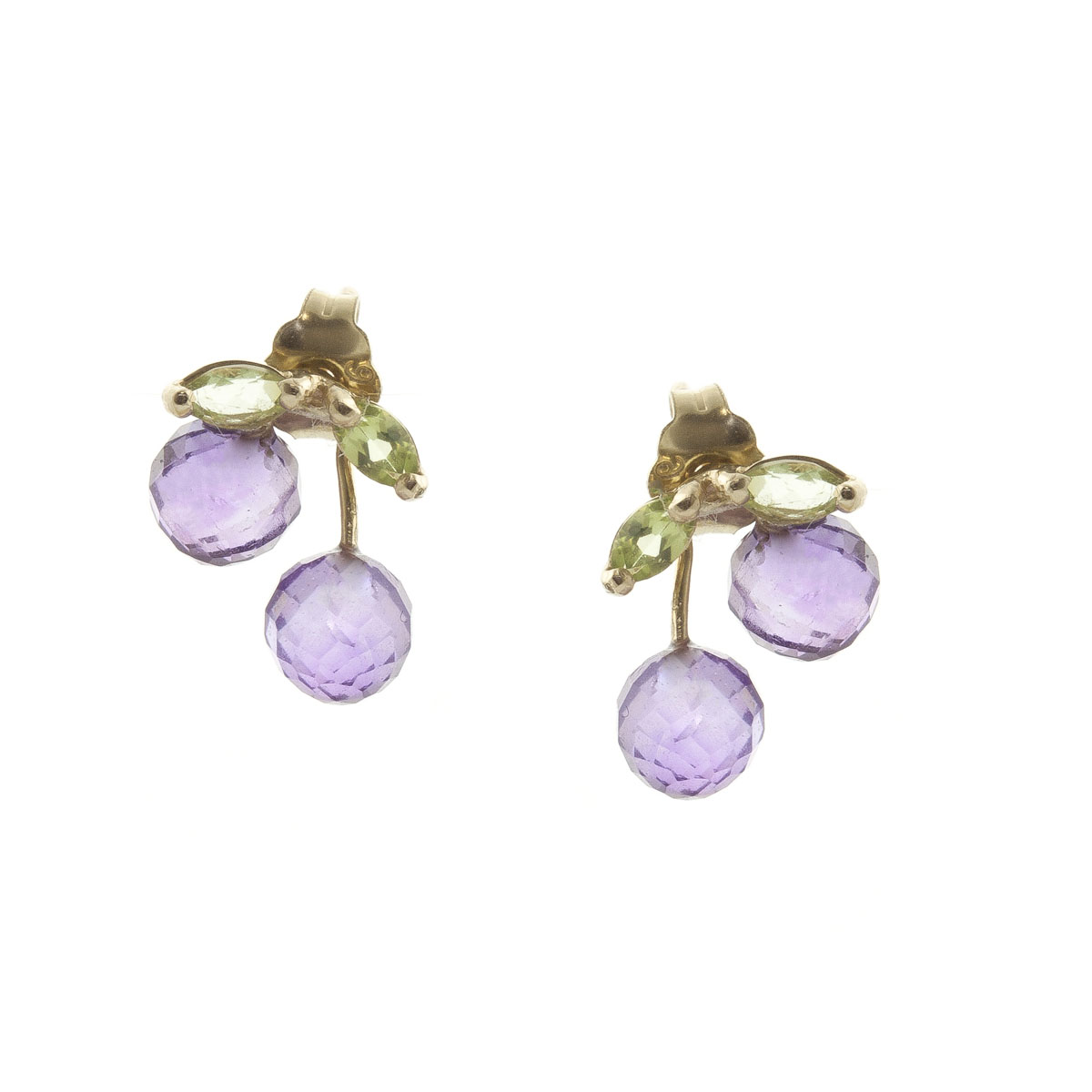 Amethyst & Peridot Cherry Drop Stud Earrings in 9ct Gold