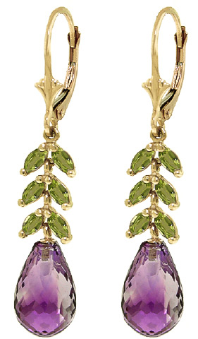 Amethyst & Peridot Drop Earrings in 9ct Gold