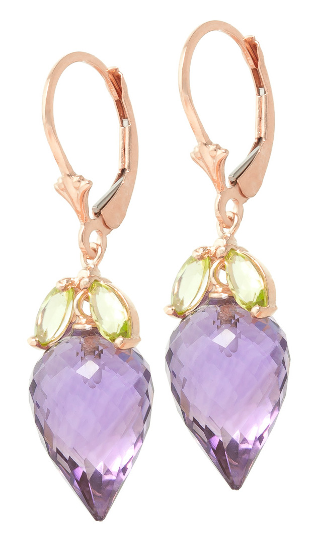 Amethyst & Peridot Drop Earrings in 9ct Rose Gold