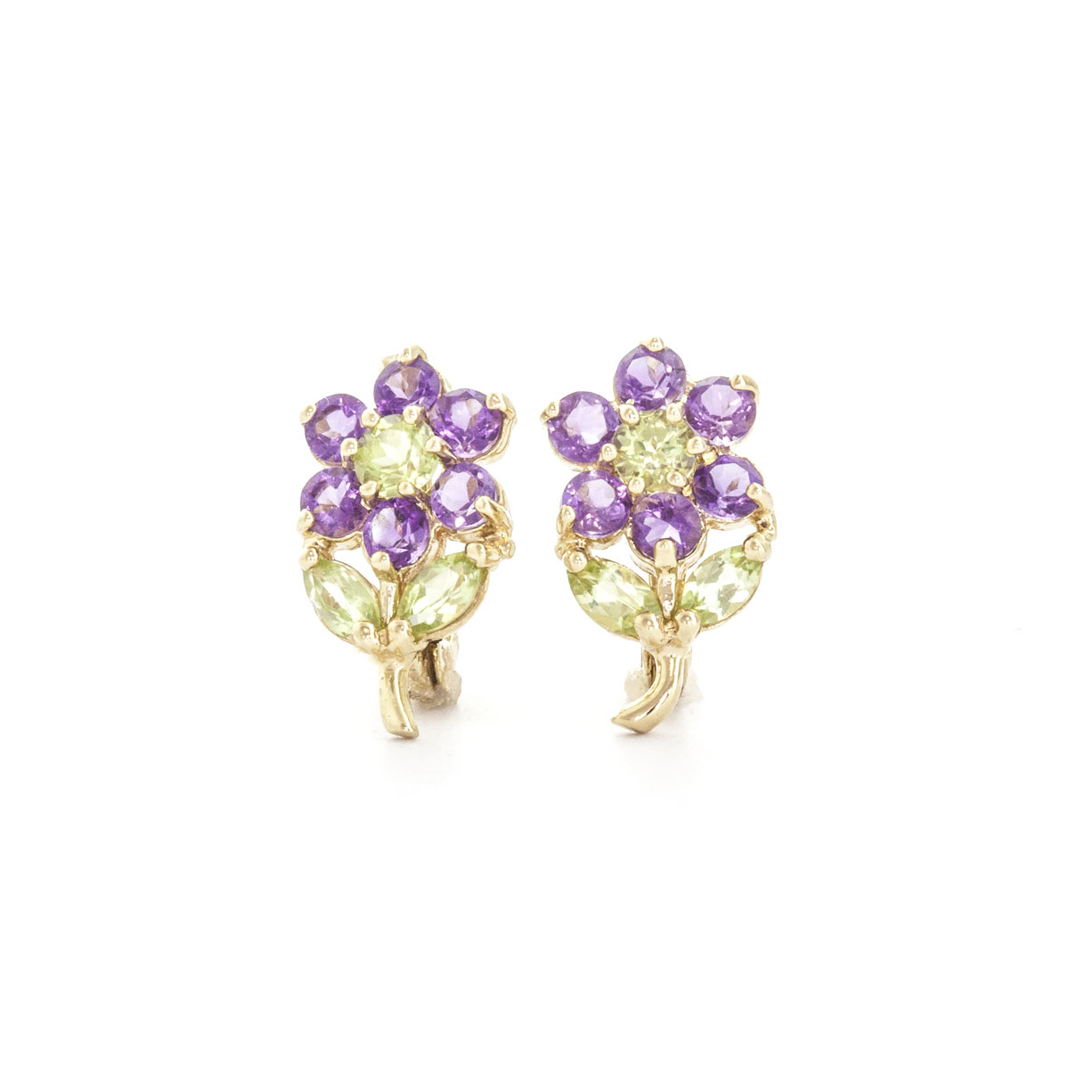 Amethyst & Peridot Flower Petal Stud Earrings in 9ct Gold