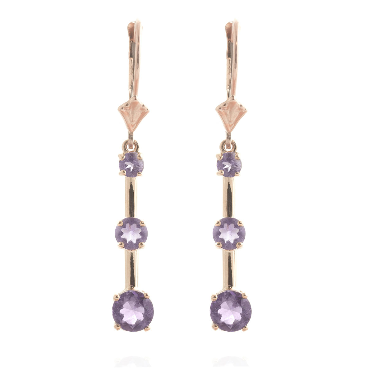 Amethyst Bar Drop Earrings 2.5 ctw in 9ct Rose Gold