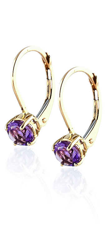 Amethyst Boston Drop Earrings 1.2 ctw in 9ct Gold