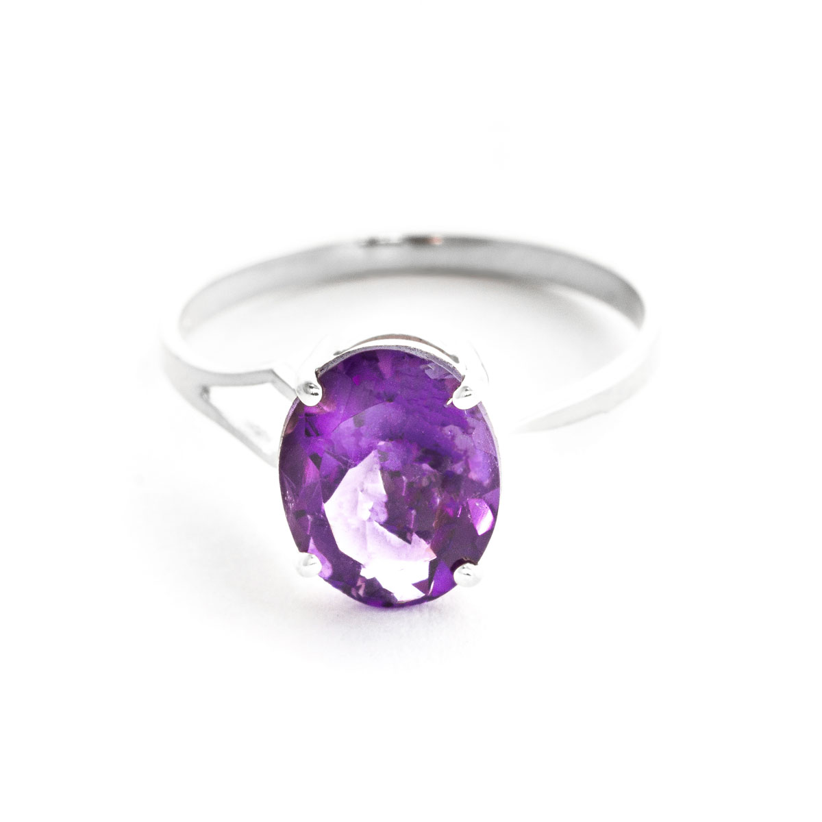 Amethyst Claw Set Ring 2.2 ct in 18ct White Gold