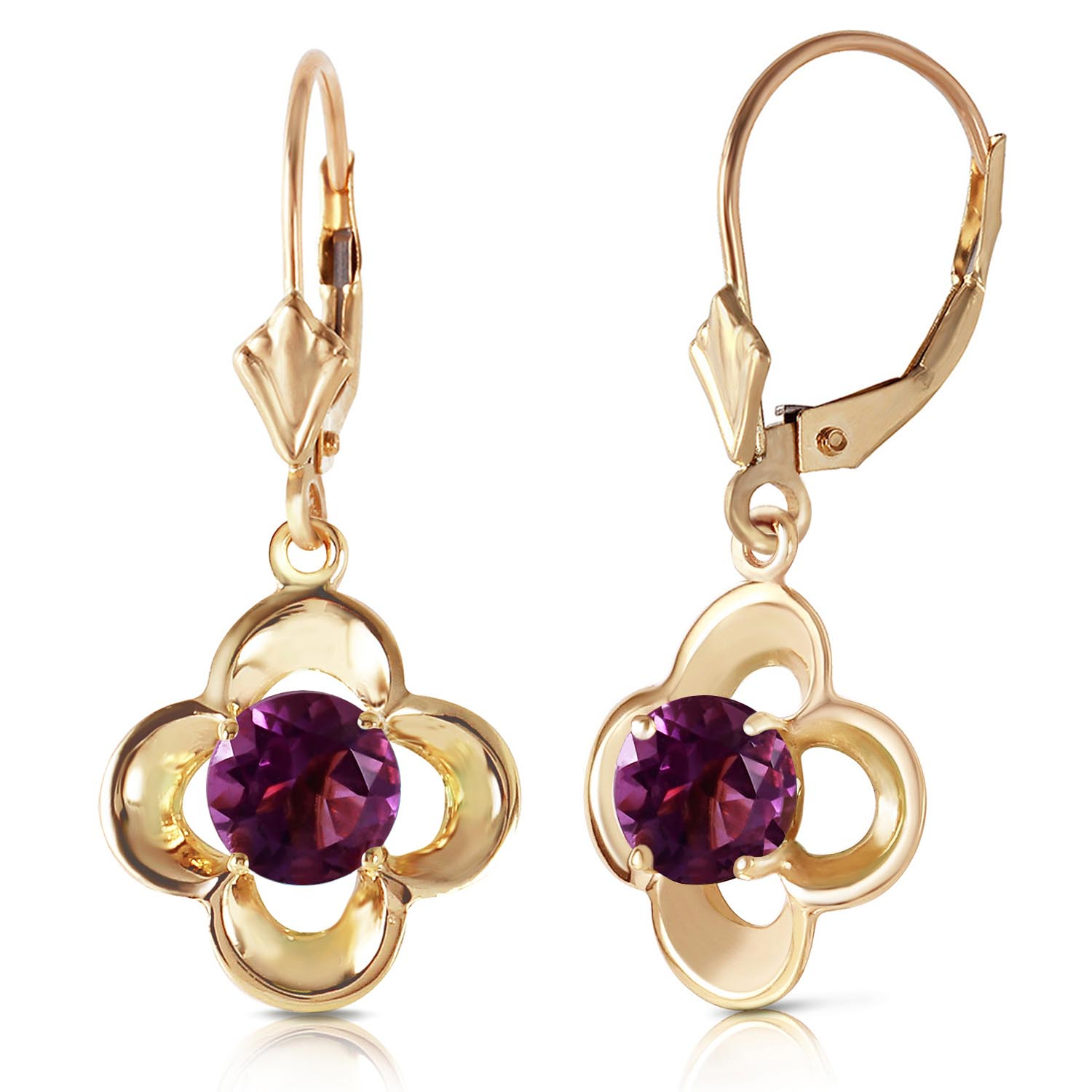 Amethyst Corona Drop Earrings 1.1 ctw in 9ct Gold