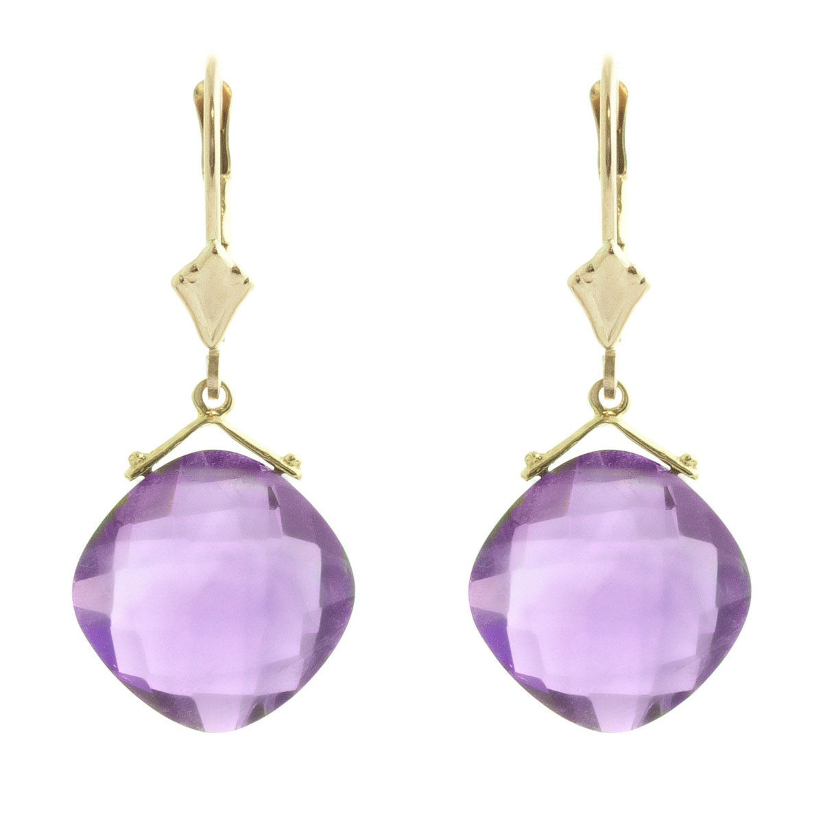 Amethyst Deflection Drop Earrings 17.5 ctw in 9ct Gold