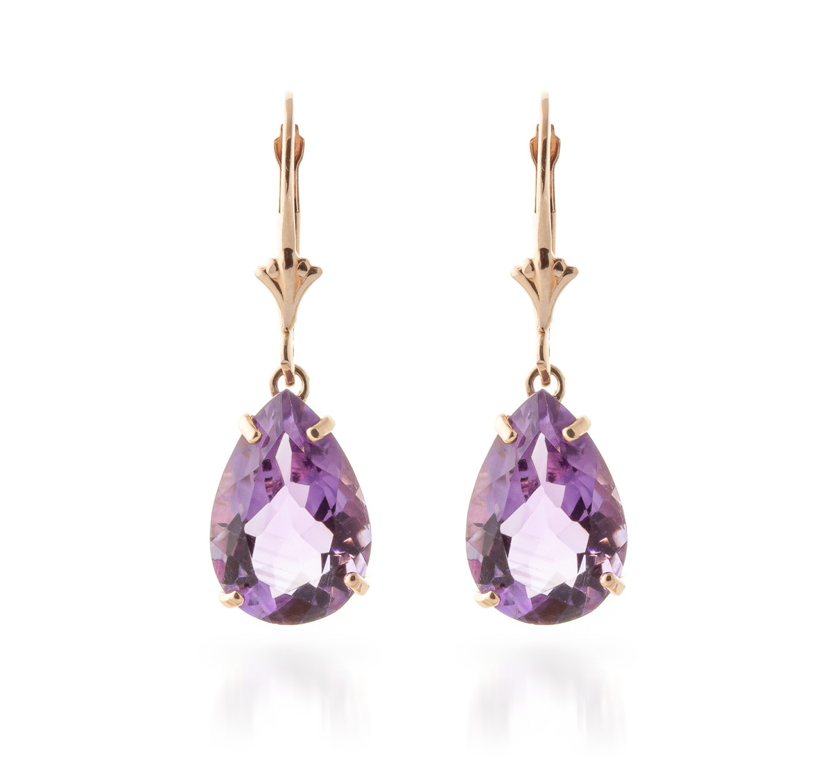 Amethyst Drop Earrings 10 ctw in 9ct Rose Gold
