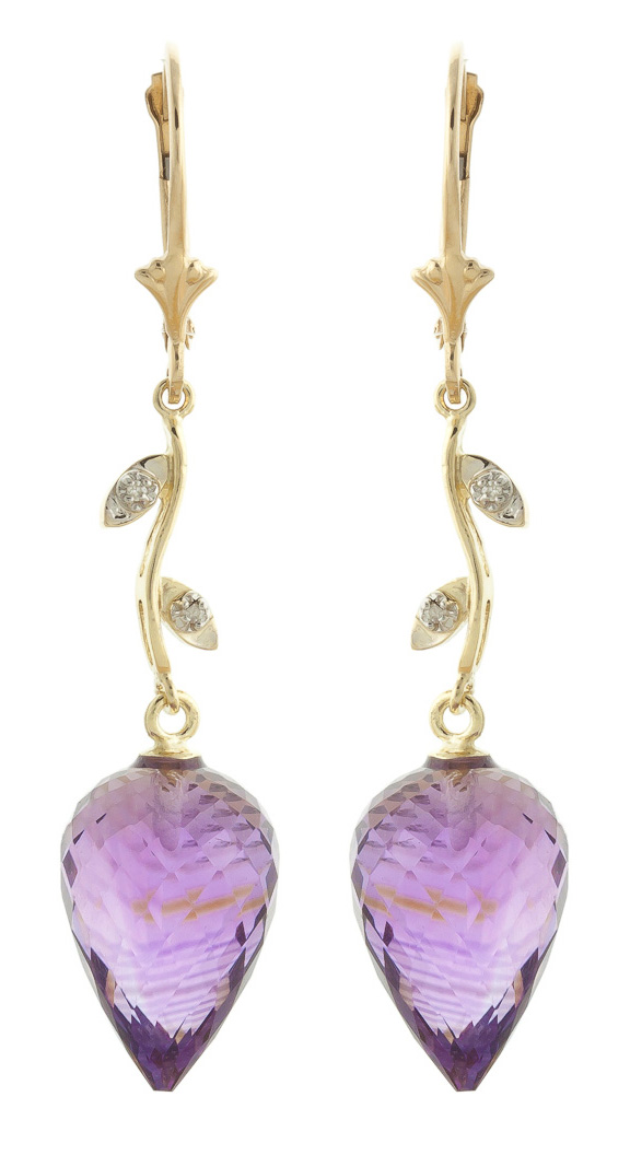 Amethyst Drop Earrings 19.02 ctw in 9ct Gold