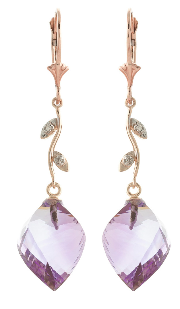 Amethyst Drop Earrings 21.52 ctw in 9ct Rose Gold