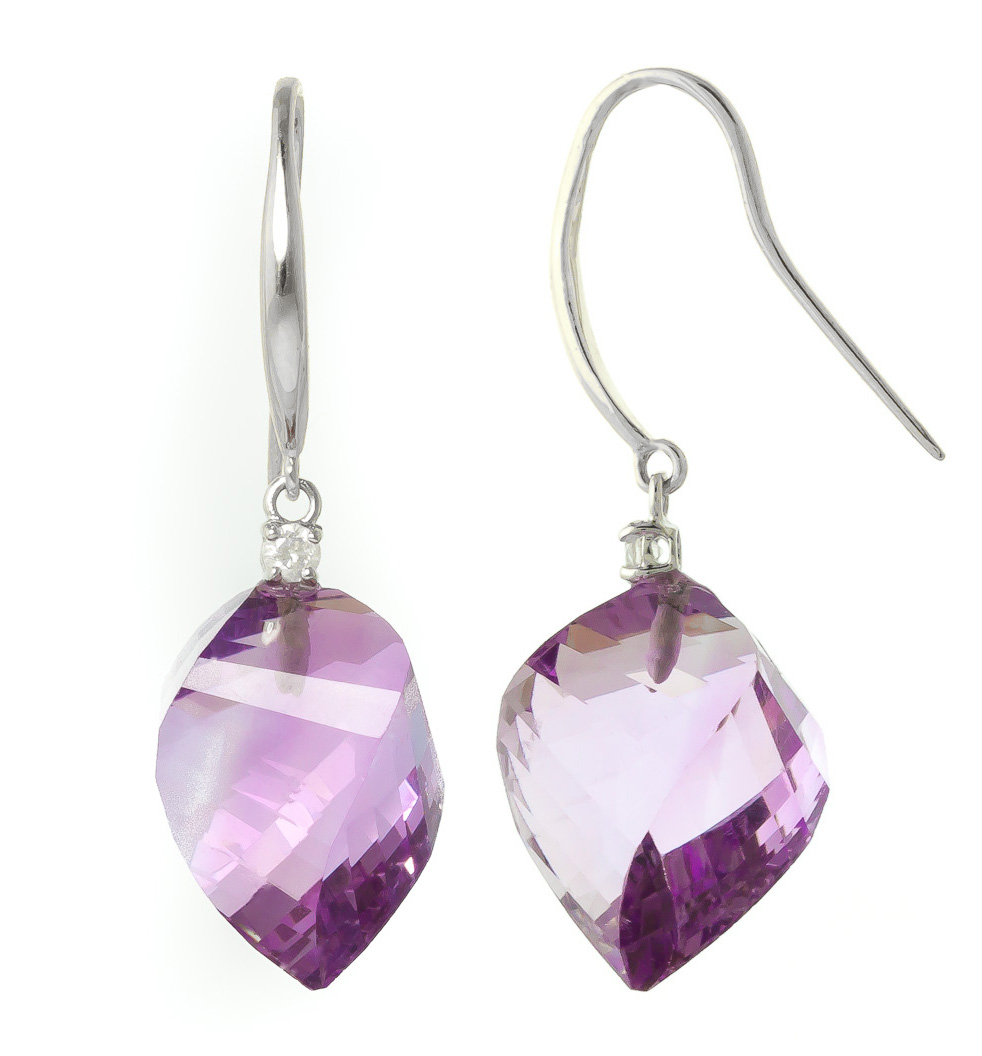 Amethyst Drop Earrings 21.6 ctw in 9ct White Gold
