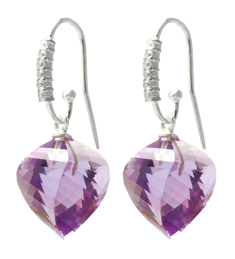 Amethyst Drop Earrings 21.68 ctw in 9ct White Gold