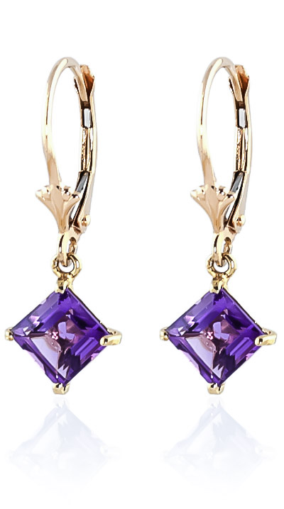 Amethyst Drop Earrings 3.2 ctw in 9ct Gold