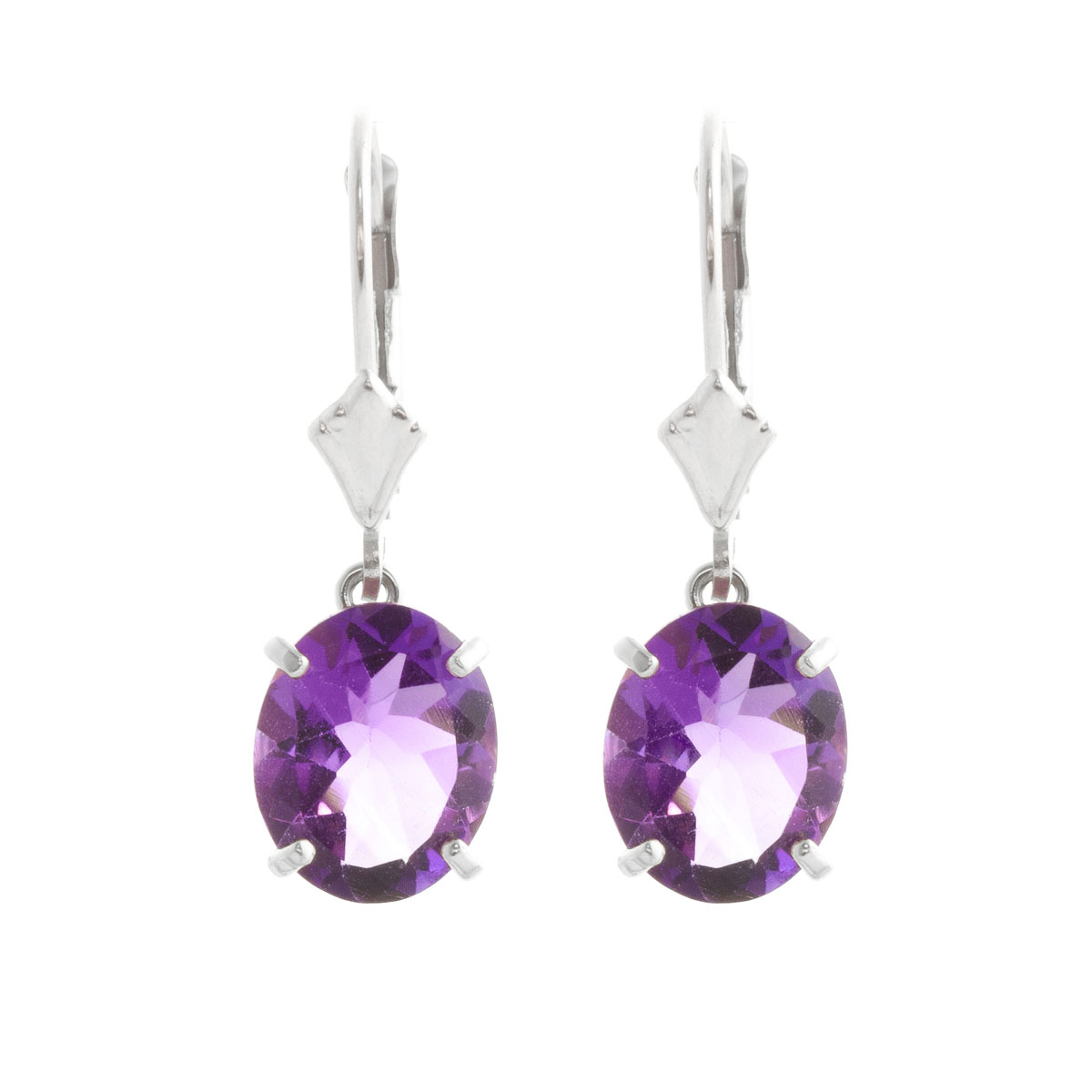 Amethyst Drop Earrings 6.25 ctw in 9ct White Gold