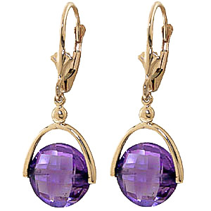Amethyst Drop Earrings 6.5 ctw in 9ct Gold