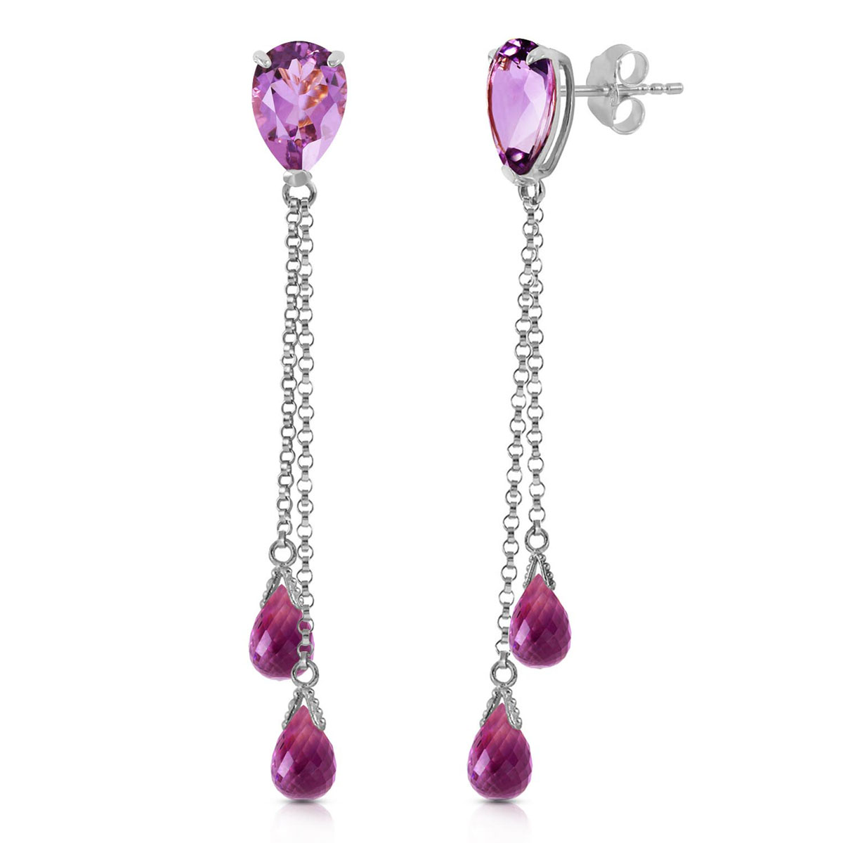 Amethyst Droplet Earrings 7.5 ctw in 9ct White Gold
