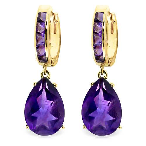 Amethyst Droplet Huggie Earrings 13.2 ctw in 9ct Gold