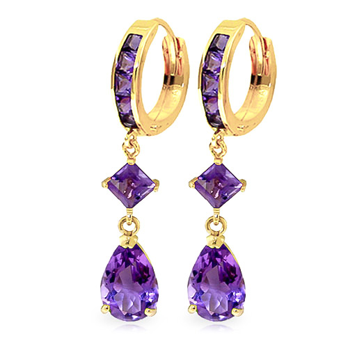 Amethyst Droplet Huggie Earrings 5.62 ctw in 9ct Gold