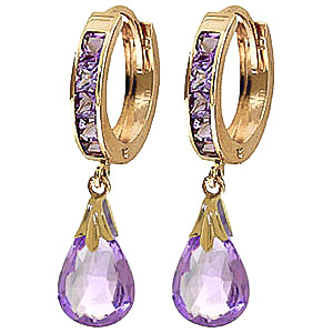 Amethyst Droplet Huggie Earrings 6.85 ctw in 9ct Gold