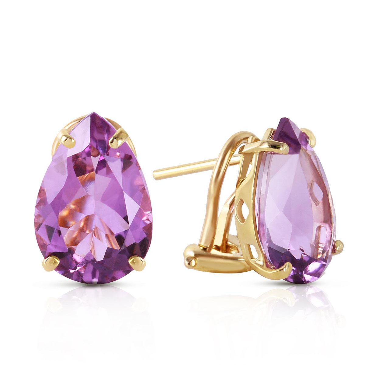 Amethyst Droplet Stud Earrings 10 ctw in 9ct Gold