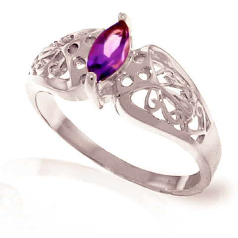 Amethyst Filigree Ring 0.2 ct in 9ct White Gold
