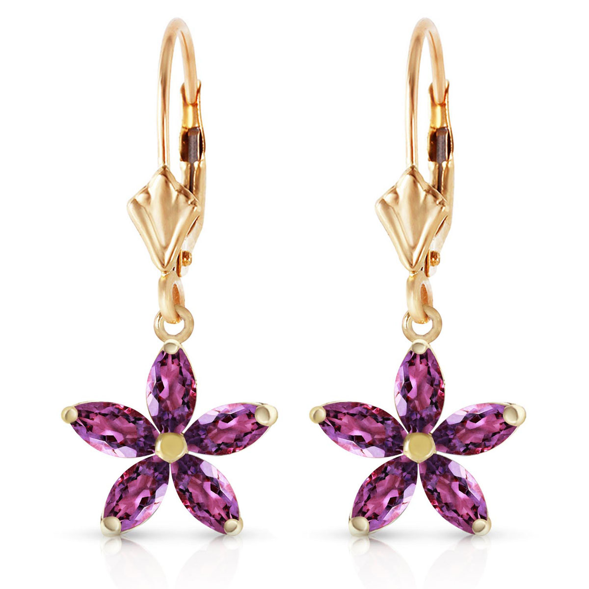 Amethyst Flower Star Drop Earrings 2.8 ctw in 9ct Gold