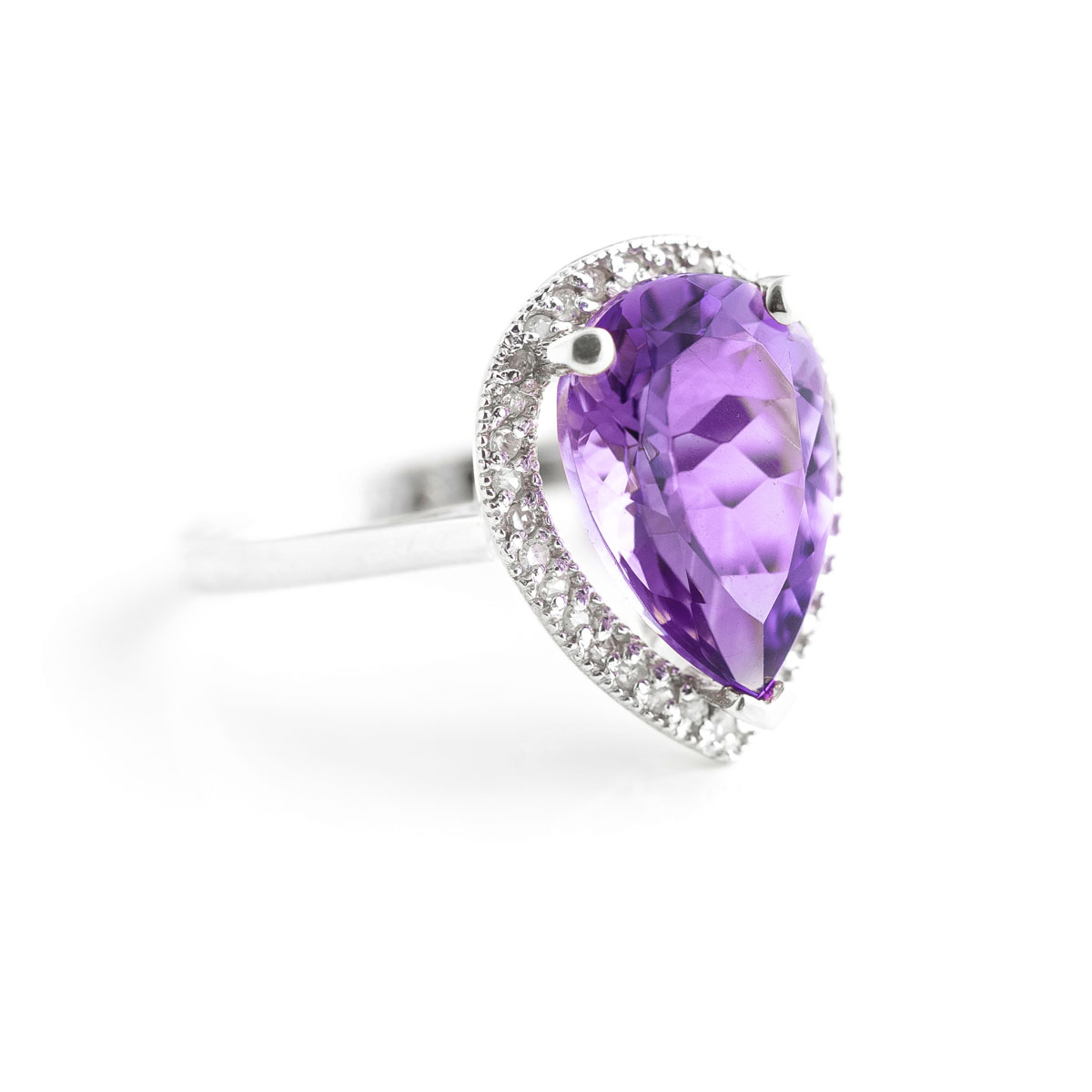 Amethyst Halo Ring 3.41 ctw in 9ct White Gold