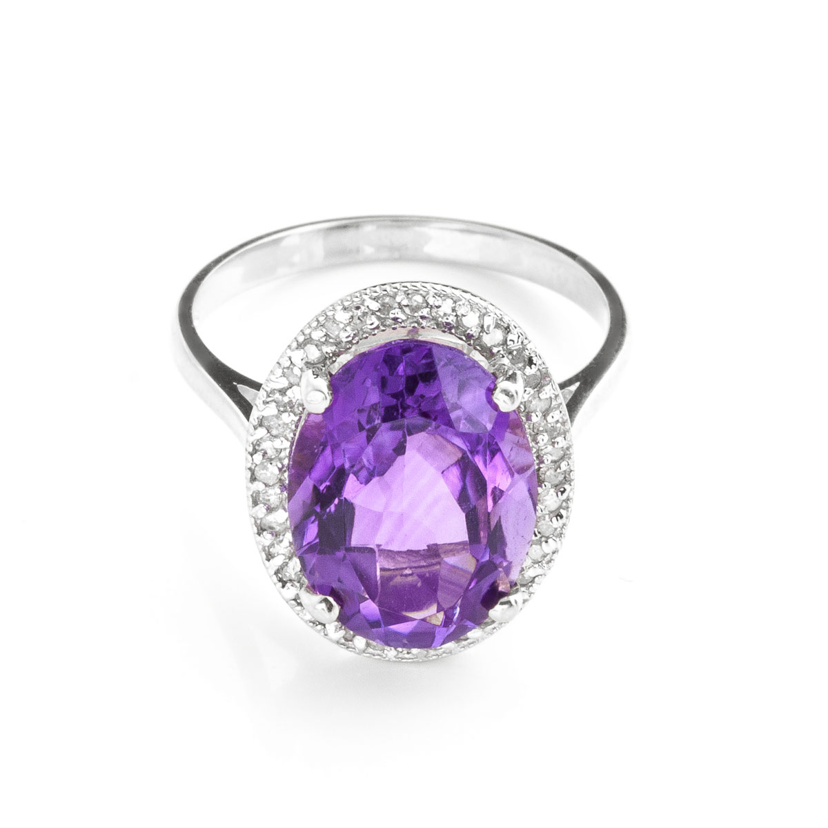 Amethyst Halo Ring 5.28 ctw in 9ct White Gold