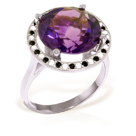 Amethyst Halo Ring 6.2 ctw in 18ct White Gold