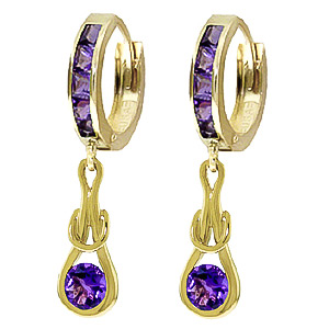 Amethyst Loop Knot Huggie Earrings 0.85 ctw in 9ct Gold