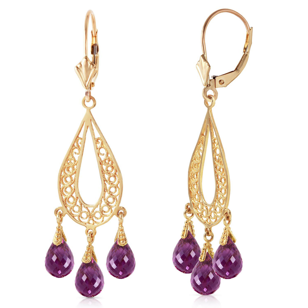 Amethyst Mirage Drop Earrings 3.75 ctw in 9ct Gold
