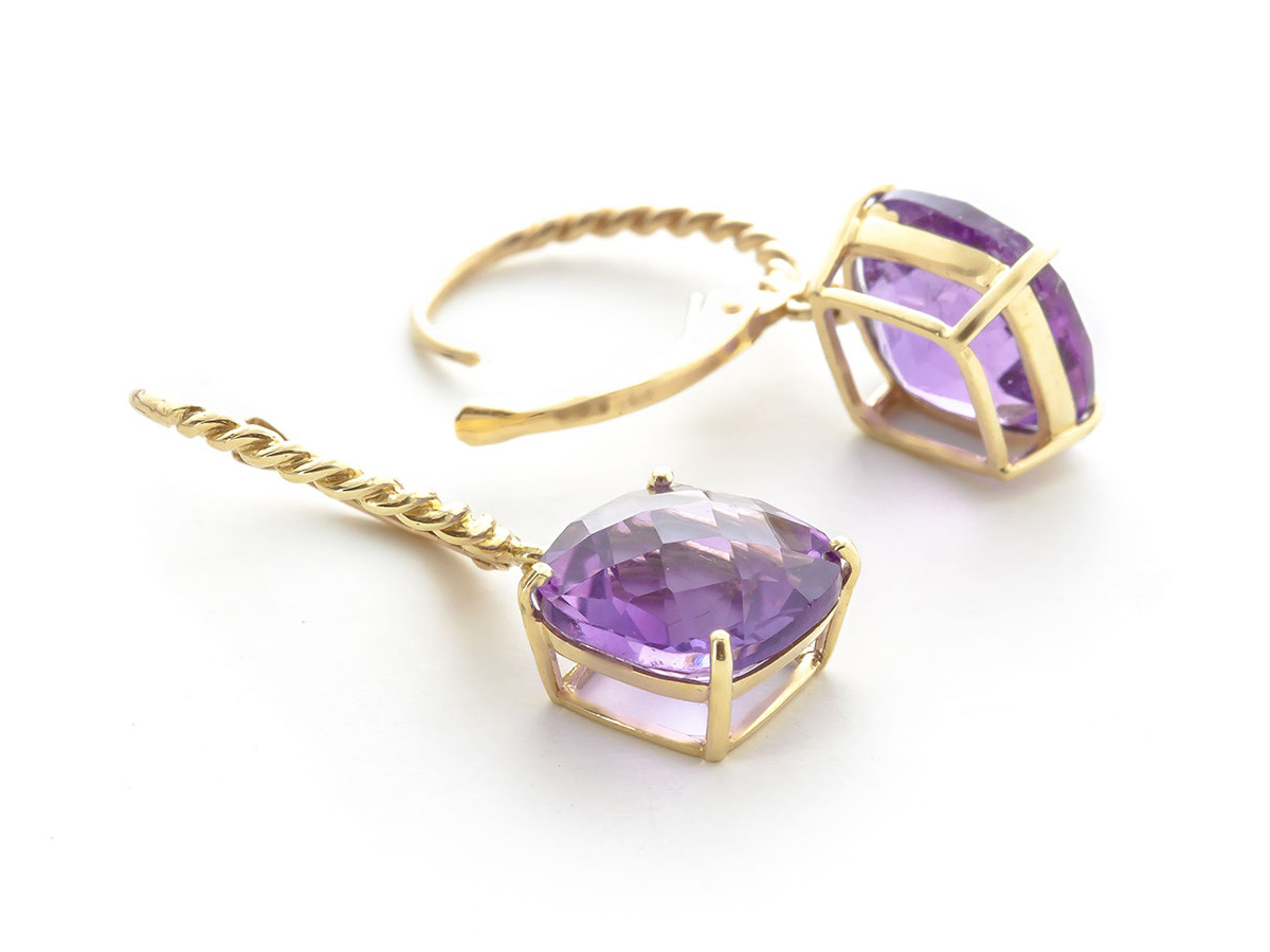 Amethyst Rococo Twist Drop Earrings 7.2 ctw in 9ct Gold