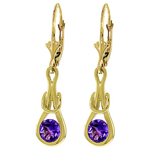 Amethyst San Francisco Drop Earrings 1.3 ctw in 9ct Gold