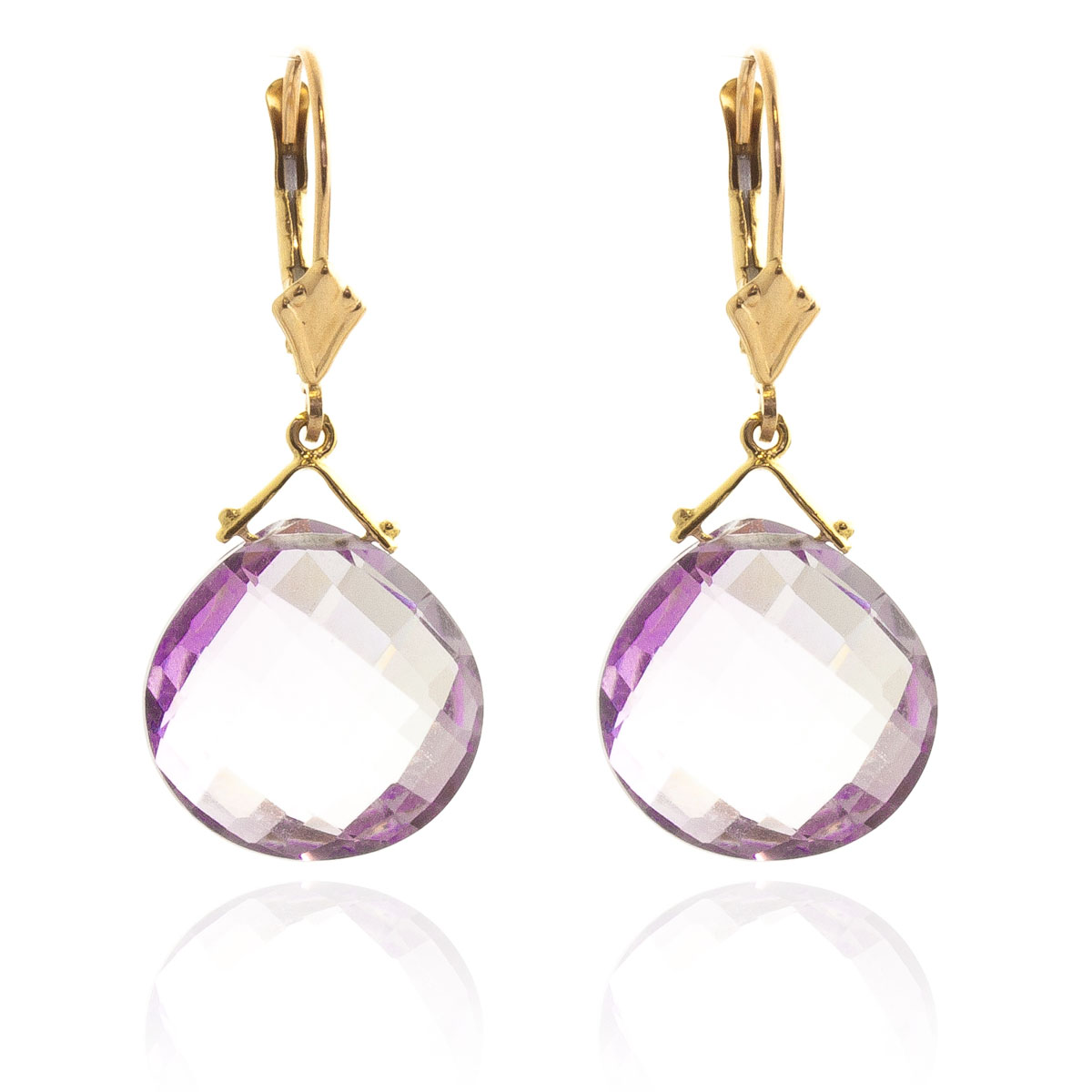 Amethyst Star Drop Earrings 17 ctw in 9ct Gold