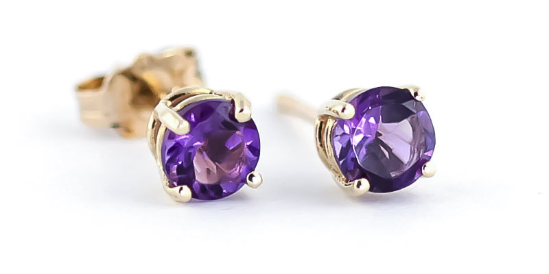 Amethyst Stud Earrings 0.95 ctw in 9ct Gold