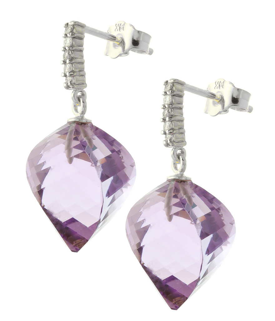 Amethyst Stud Earrings 21.65 ctw in 9ct White Gold