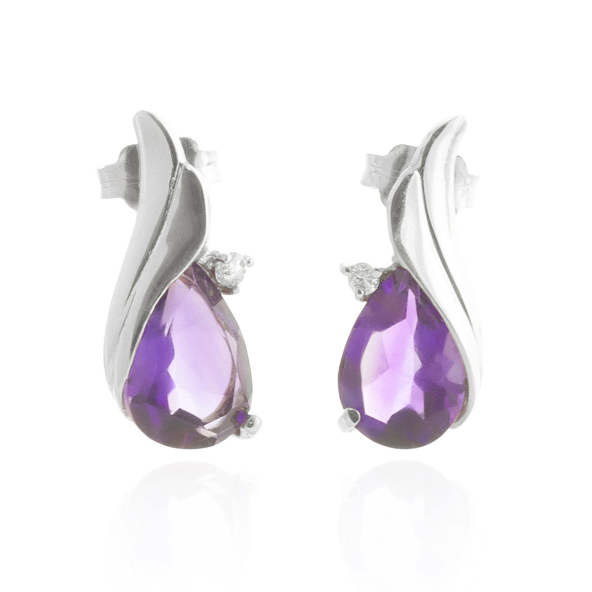 Amethyst Stud Earrings 3.16 ctw in 9ct White Gold
