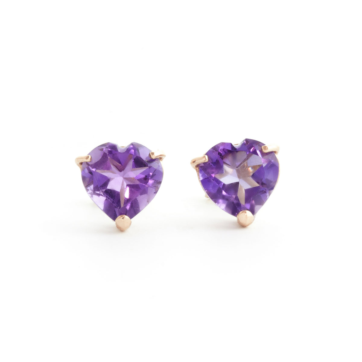 Amethyst Stud Earrings 3.25 ctw in 9ct Rose Gold