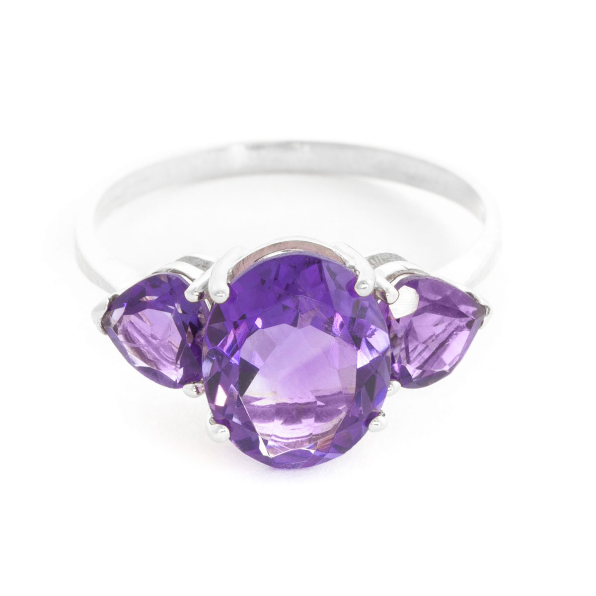 Amethyst Three Stone Ring 4 ctw in 18ct White Gold