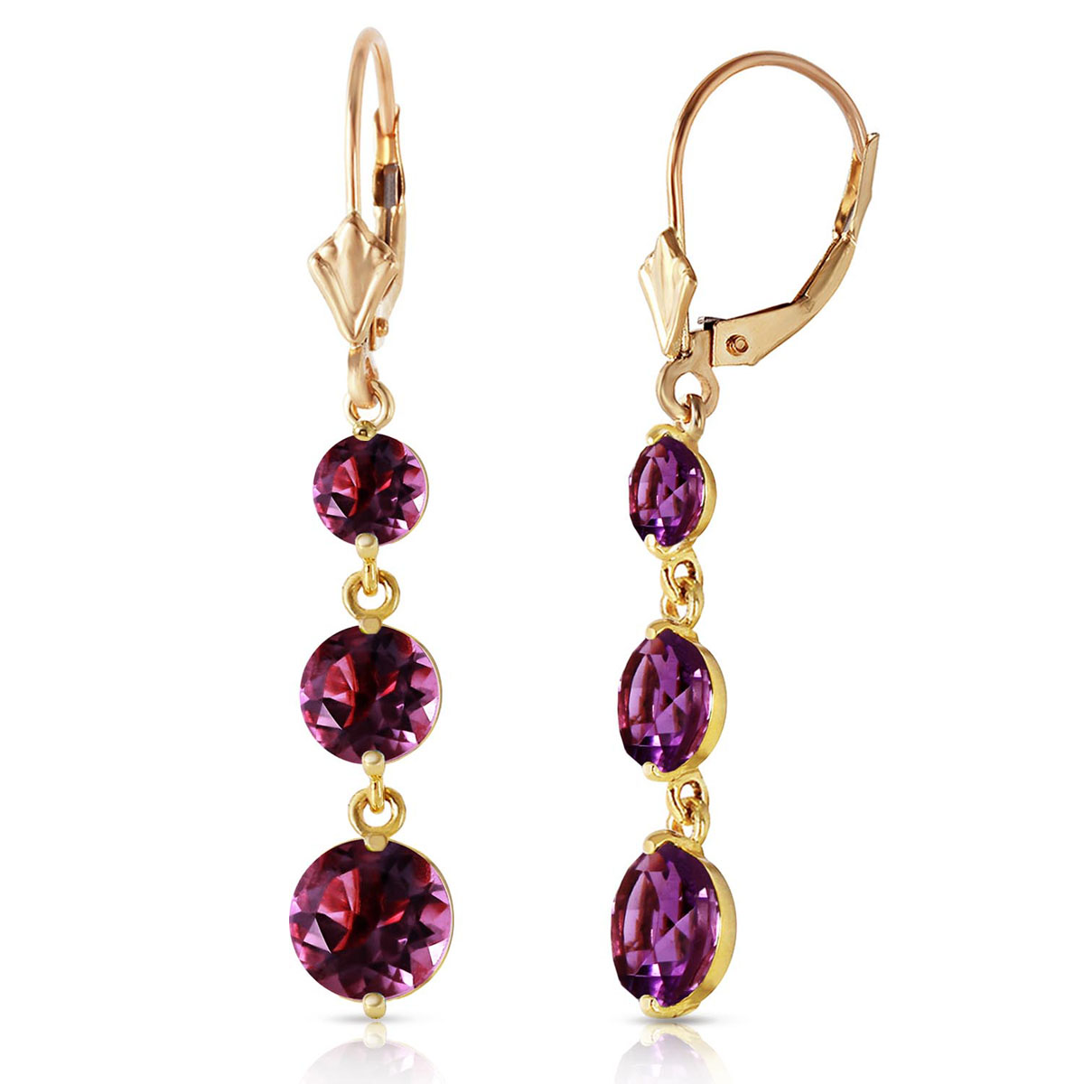 Amethyst Trinity Drop Earrings 7.2 ctw in 9ct Gold