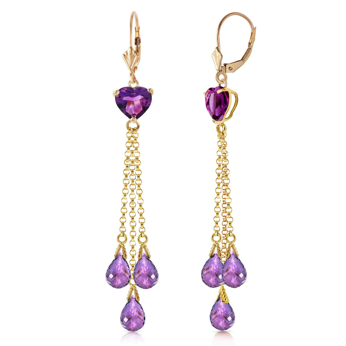 Amethyst Vestige Drop Earrings 9.5 ctw in 9ct Gold