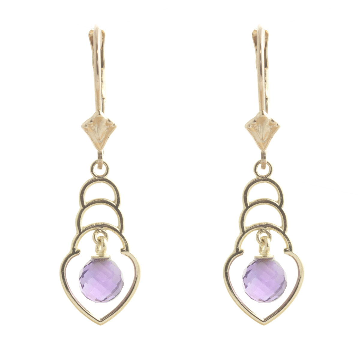 Amethyst Wireframe Drop Earrings 1.25 ctw in 9ct Gold
