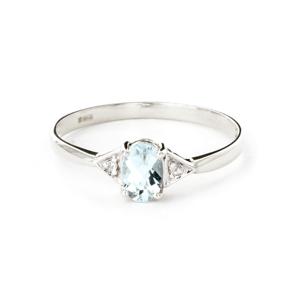 Aquamarine & Diamond Allure Ring in 9ct White Gold