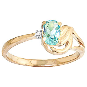 Aquamarine & Diamond Angel Ring in 9ct Gold
