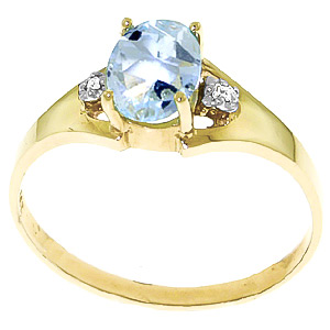 Aquamarine & Diamond Desire Ring in 9ct Gold