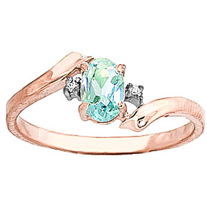 Aquamarine & Diamond Embrace Ring in 9ct Rose Gold