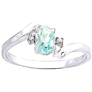 Aquamarine & Diamond Embrace Ring in 9ct White Gold