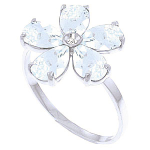 Aquamarine & Diamond Five Petal Ring in Sterling Silver
