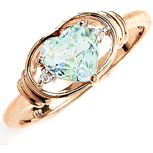 Aquamarine & Diamond Halo Heart Ring in 9ct Gold