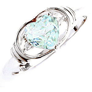 Aquamarine & Diamond Halo Heart Ring in Sterling Silver