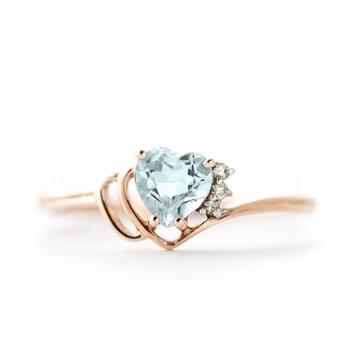 Aquamarine & Diamond Passion Ring in 9ct Rose Gold