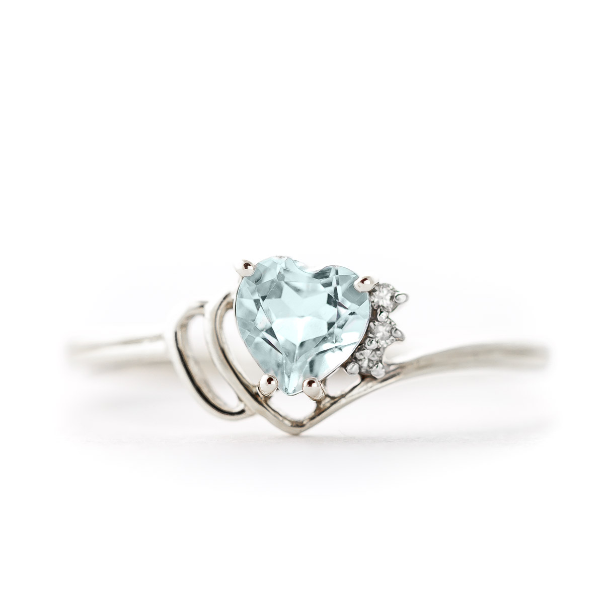 Aquamarine & Diamond Passion Ring in Sterling Silver